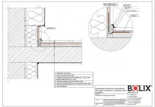 Rozwiązanie wykończenia nieocieplonej płyty loggi na połączeniu z ocieploną ścianą i cokolikiem
