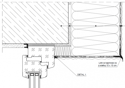 1.5.4 Przekrój ocieplenia okna cofniętego - detal 2 nadproża okiennego