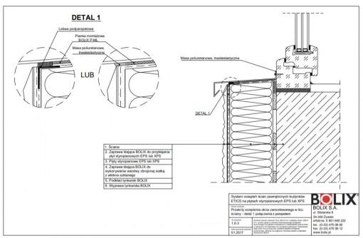 1.6.3 Przekrój ocieplenia okna zamontowanego w licu ściany - detal 1 połączenia z parapetem