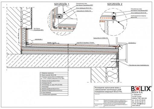 Rozwiązanie wykończenia tarasu z zastosowaniem aluminiowych profili krawędziowo-okapowych BOLIX PAL