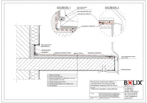 Rozwiązanie wykończenia balkonu z zastosowaniem aluminiowych profili krawędziowo-okapowych BOLIX PAL-E