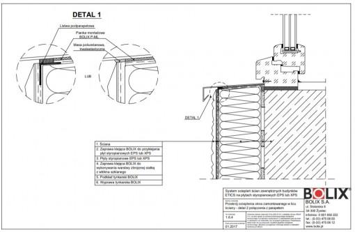 1.6.4 Przekrój ocieplenia okna zamontowanego w licu ściany - detal 2 połączenia z parapetem