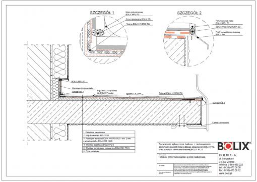 Rozwiązanie wykonczenia balkonu z zastosowaniem aluminiowych profili kraw ędziowo-okapowych BOLIX PAL oraz posadzki cienkowarstwowej BOLIX PC-S
