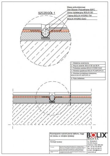 Rozwiązanie wykończenia balkonu, loggi lub tarasu w obrębie dylatacji