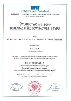 ŚWIADECTWO NR 011/2014 DEKLARACJI ŚRODOWISKOWEJ III TYPU - BOLIX S