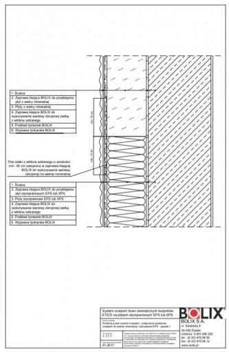 1.11.1 Przekrój przez system ociepleń - połączenie systemów ociepleń na wełnie mineralnej i styropianie EPS - sposób 1