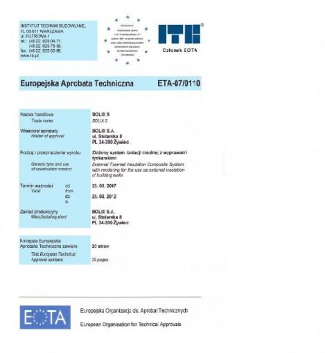EUROPEJSKA OCENA TECHNICZNA ETA-07/0110