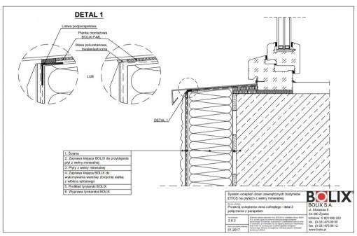 2.6.2 Przekrój ocieplenia okna cofniętego - detal 2 połączenia z parapetem