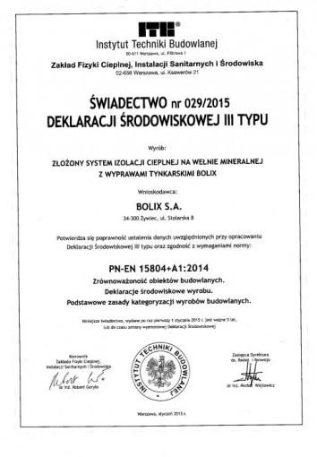 ŚWIADECTWO NR 011/2014 DEKLARACJI ŚRODOWISKOWEJ III TYPU - BOLIX W