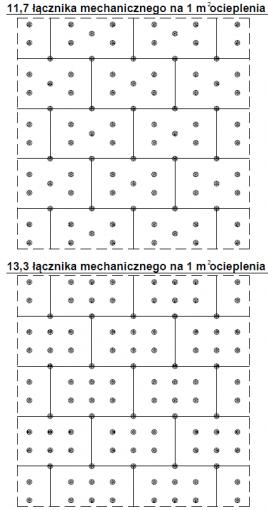 2.15.7 Proponowane rozmieszczenie łączników mechanicznych na 1 m ocieplenia na płytach MW 60 x 100 cm - cz.3.