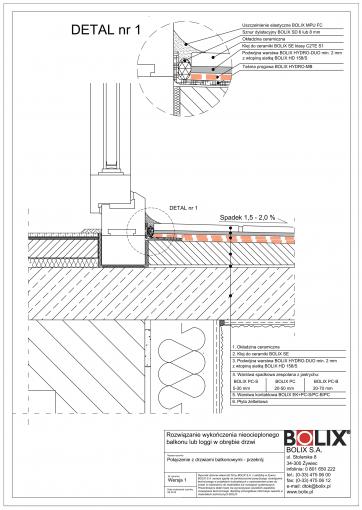 Balkon nieocieplony - połączenie z drzwiami wer.1