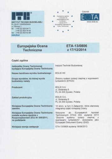 EUROPEJSKA OCENA TECHNICZNA ETA-13/0806