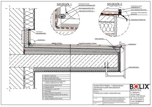 System BOLIX Balkon z zastosowaniem aluminiowych profili krawędziowych BOLIX PAL