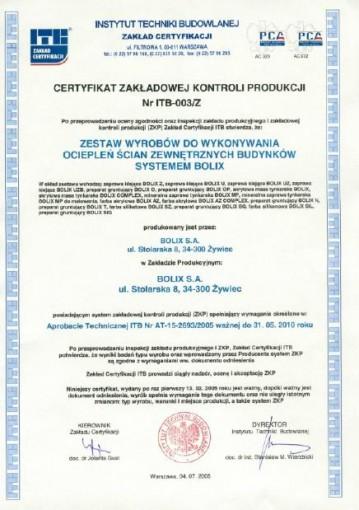 CERTYFIKAT ZGODNOŚCI Nr ITB-003/Z