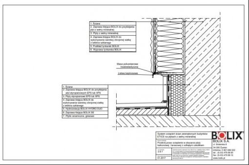 2.9.1 Przekrój przez ocieplenie w obszarze płyty balkonowej / tarasowej z cofniętym cokolikiem