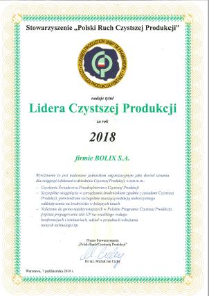 Lider Czystszej Produkcji 2018