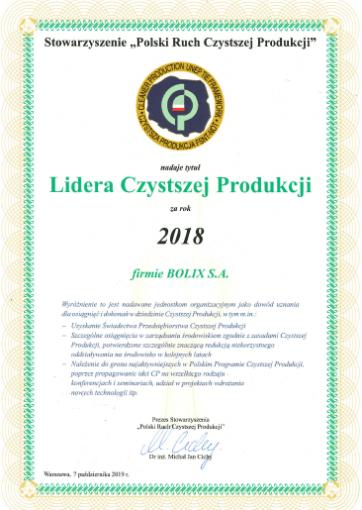 Lider Czystej produkcji 2018