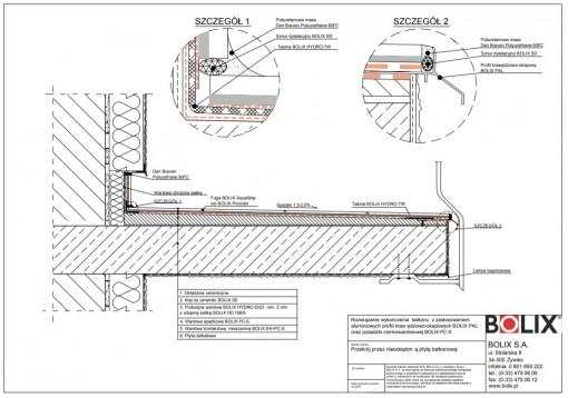 Rozwiązanie wykończenia balkonu z zastosowaniem aluminiowych profili krawędziowo-okapowych BOLIX PAL oraz posadzki cienkowarstwowej BOLIX PC-S