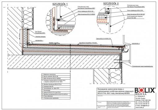 Rozwiązanie wykończenia tarasu z zastosowaniem profili krawędziowo-okapowych BOLIX PAL-500 i maty drenażowej MD500