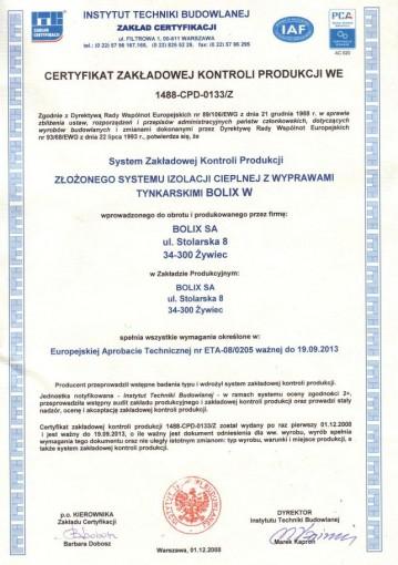 CERTYFIKAT WE 1488-CPR-0133/Z