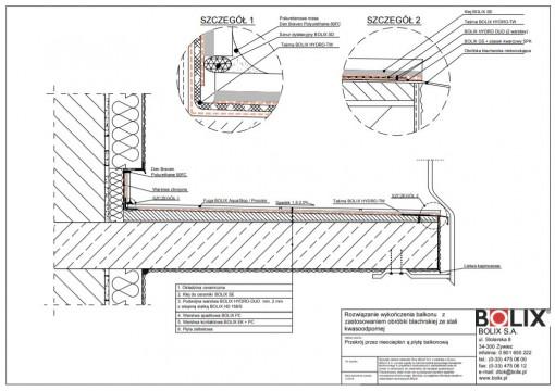Rozwiązanie wykończenia balkonu z zastosowaniem obróbki blacharskiej ze stali kwasoodpornej