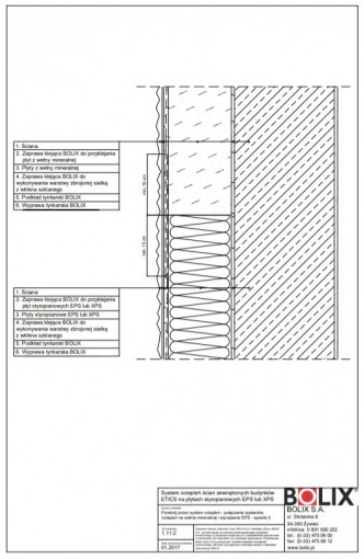 1.11.2 Przekrój przez system ociepleń - połączenie systemów ociepleń na wełnie mineralnej i styropianie EPS - sposób 2