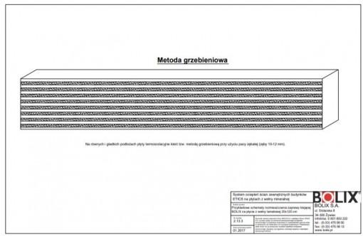 2.13.3 Przykładowe schematy rozmieszczenia zaprawy klejącej BOLIX na płycie z wełny lamelowej 20x120 cm