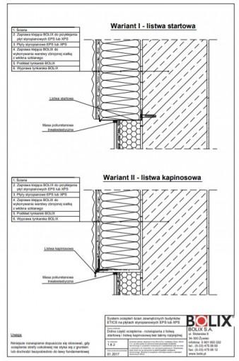 1.8.2 Dolna część ocieplenia - rozwiązania z listwą startową i listwą kapinosową bez taśmy rozprężnej