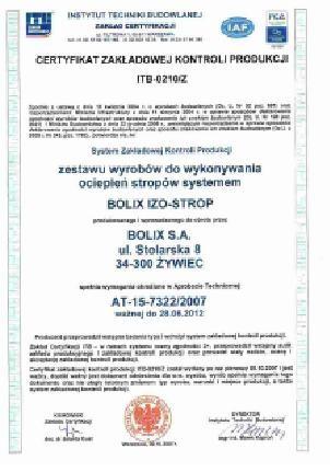 CERTYFIKAT ZKP Nr ITB 0210/Z