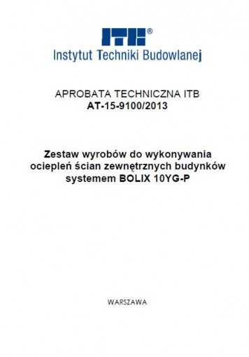 APROBATA TECHNICZNA ITB AT-9100-2013