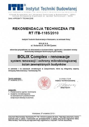REKOMENDACJA TECHNICZNA ITB RT ITB-1185/2010
