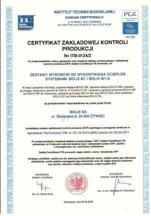 CERTYFIKAT ZKP Nr ITB-0124/Z