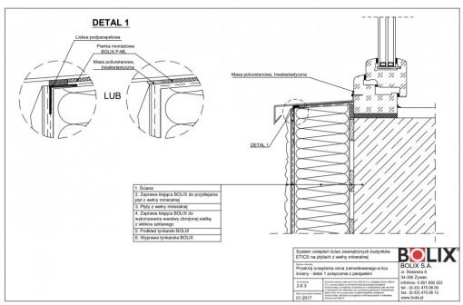 2.6.3 Przekrój ocieplenia okna zamontowanego w licu ściany - detal 1 połączenia z parapetem