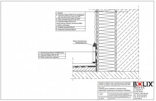 1.9.2 Przekrój przez ocieplenie w obszarze płyty balkonowej / tarasowej ze zlicowanym cokolikiem