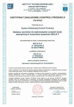 CERTYFIKAT ZKP Nr ITB-0618/Z