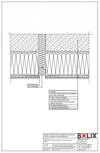 2.12.1 Przekrój przez system ociepleń - szczelina dylatacyjna prosta
