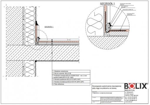 Rozwiązanie wykończenia nieocieplonej płyty loggi na połczeniu ze ścianą