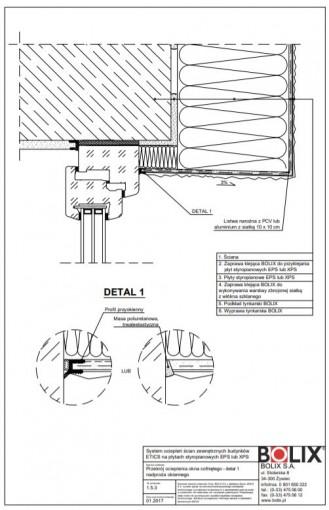 1.5.3 Przekrój ocieplenia okna cofniętego - detal 1 nadproża okiennego