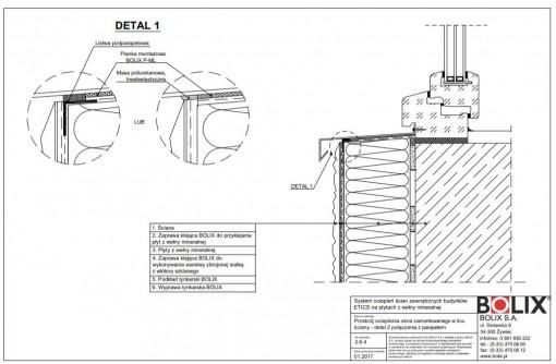 2.6.4 Przekrój ocieplenia okna zamontowanego w licu ściany - detal 2 połączenia z parapetem