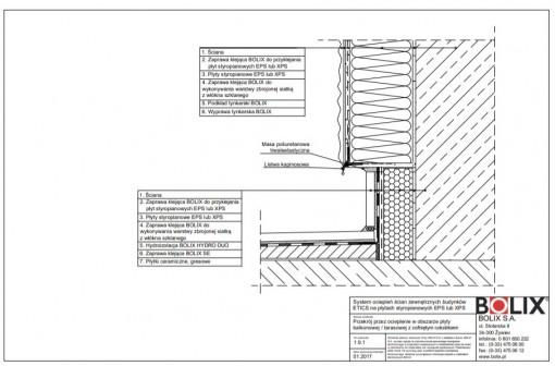 1.9.1 Przekrój przez ocieplenie w obszarze płyty balkonowej / tarasowej z cofniętym cokolikiem