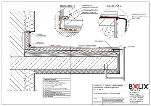 System BOLIX Balkon z zastosowaniem aluminiowych profili krawędziowych BOLIX PAL-E