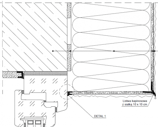 2.5.2 Przekrój ocieplenia okna zamontowanego w licu ściany - detal 2 nadproża okiennego