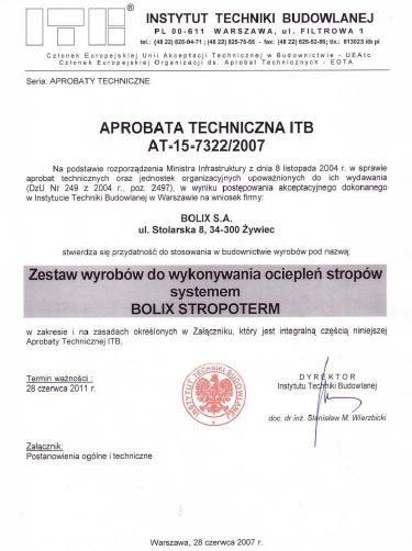 APROBATA TECHNICZNA ITB nr AT-15-7322/2015