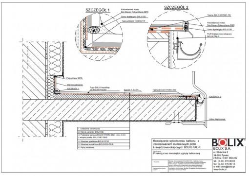 Rozwiązanie wykończenia balkonu z zastosowaniem aluminiowych profili krawędziowo-okapowych BOLIX PAL-R