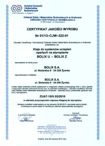 CERTYFIKAT JAKOŚCI WYROBU Nr 01/13-CJW-322-01