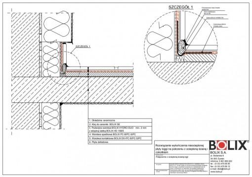 Rozwiązanie wykończenia nieocieplonej płyty loggi na połczeniu z ocieploną ścianą i cokolikiem