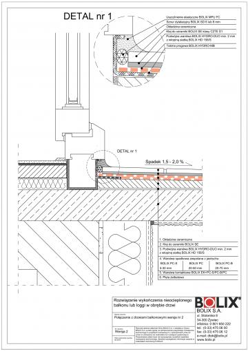 Balkon nieocieplony - połączenie z drzwiami wer.2
