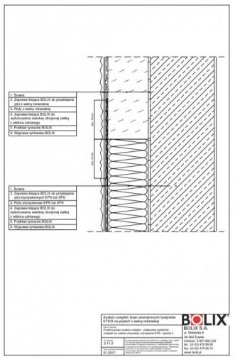 2.11.2 Przekrój przez system ociepleń - połączenie systemów ociepleń na wełnie mineralnej i styropianie EPS - sposób 2