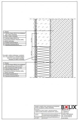 2.11.1 Przekrój przez system ociepleń - połączenie systemów ociepleń na wełnie mineralnej i styropianie EPS - sposób 1